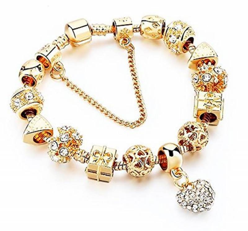 bracelet pandora plaque or