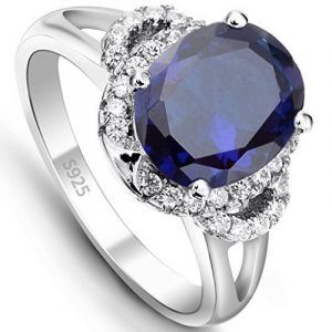 EVER FAITH® - Brillant Bleu - Bague Alliance Femme Argent 925 Vintage Style Ovale Zircon de la marque Ever Faith image 0 produit