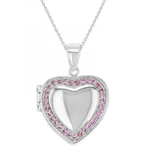 In Season Jewelry - Pendentif Collier - Plaqué Rhodium - Rose Cristal - Médaillon Photo en forme de coeur - 45 cm de la marque In Season Jewelry image 0 produit