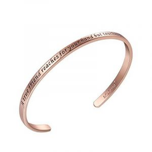 "SOLOCUTE Bracelet Femme Gravé ""A True Friend Reaches For Your Hand But Touches Your Heart"" Inspiration Manchette Bijoux de la marque Solocute image 0 produit"