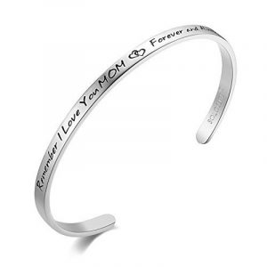 "SOLOCUTE Bracelet Femme Gravé ""Remember I Love You MOM , Forever And Always"" Inspiration Manchette Bijoux de la marque Solocute image 0 produit"