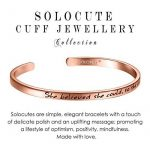 "SOLOCUTE Bracelet Femme Gravé ""She believed she could So she did"" Inspiration Manchette Bijoux de la marque Solocute image 1 produit"