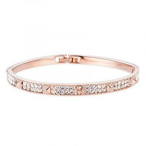 SWEETIEE - Bracelet Femme Simple avec Attache Plaque Or Rose, Ornement Brillant Micro Pave AAA Zircon Pyramides, Or Rose, 185mm de la marque Sweetiee image 0 produit