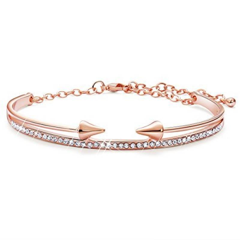 2bb0b252735 SWEETIEE - Bracelet Femme Simple ornement Arche et Deux Fleches Faces Chic  Plaque Or 18k
