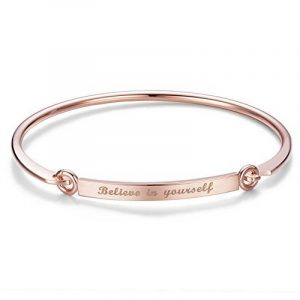 SWEETIEE - Bracelet Jonc Grave 18K Plaque Or Rose, Bracelet Simple, Or Rose, 185mm de la marque Sweetiee image 0 produit