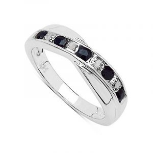 The Sapphire Ring Collection Bague saphir noir et diamant en argent sterling de la marque The Diamond & Wedding Ring Bargain Centre image 0 produit